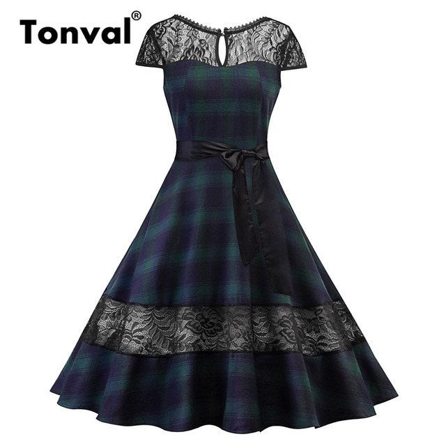 36b45870590 Tonval Plaid Vintage Green Summer Dress Women Elegant Gingham Lace Dresses  Cap Sleeve Party Backless Retro Dress