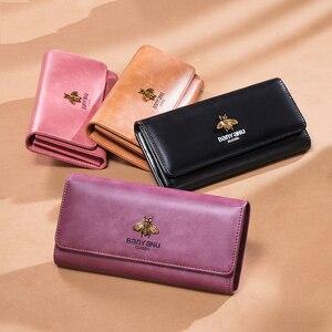 Image 3 - Cartera de cuero genuino 2020 para mujer, monedero con cerrojo de marca de lujo, billetera larga de cuero para mujer, billetera de teléfono de abeja, titular de la tarjeta femenina