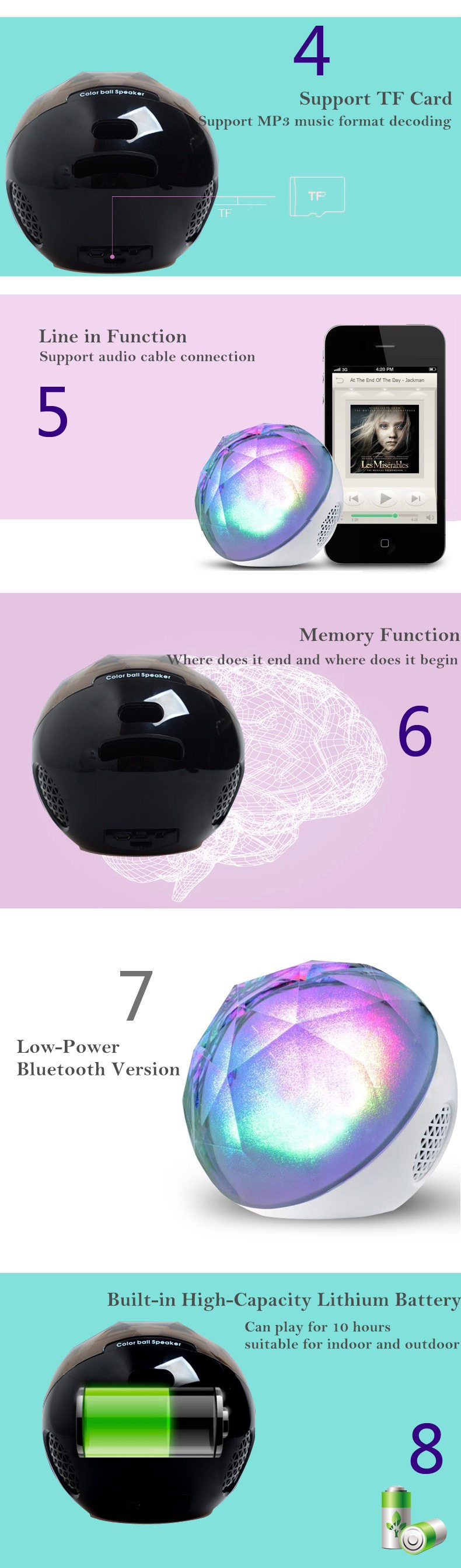 Portable Bluetooth speaker Portable Wireless Loudspeaker LED Light Crystal Ball Bluetooth Speaker Night Light USB MP3 Player05