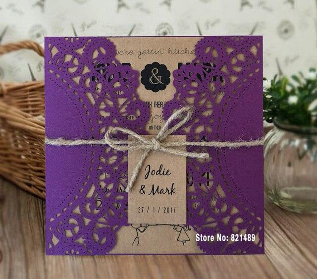 Lila Hochzeit Einladung, Rustikale Hochzeit Einladungskarten, Laser  Geschnitten Einladung Mit Schnur Set Von