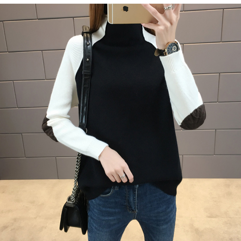 High-necked sweater female 2018 autumn winter new women loose Patchwork Pullovers fashion long-sleeved Wild knitting shirt ll780