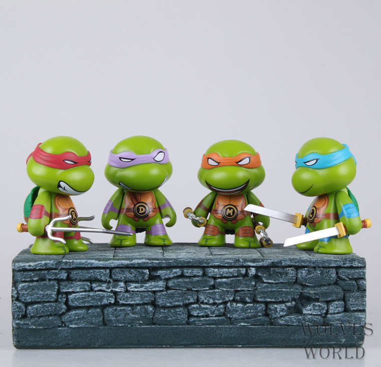G06-X001 In box Movie Q edtion 8cm Teenage Mutant Ninja Turtles toy PVC Model figure best collection gift