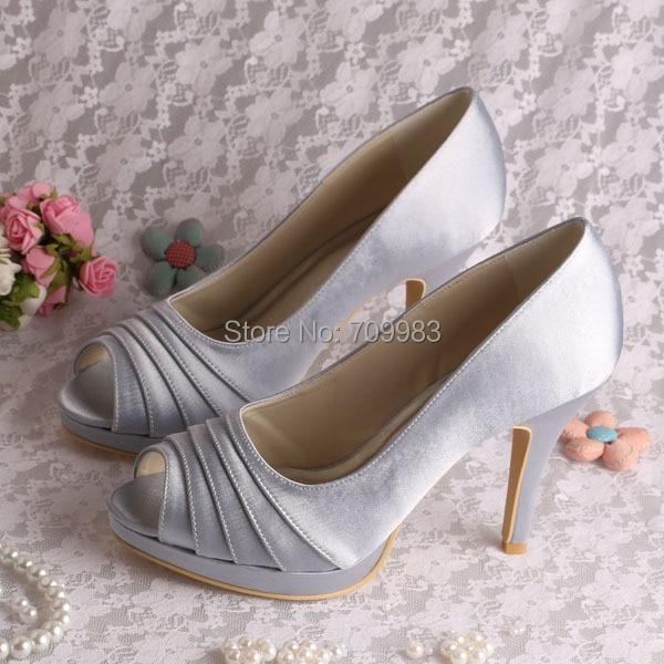 7d9ceff3332 Free Drop Shipping Ivory Satin Open Toe Wedding Shoes 2013 Women Heels Size  34~42