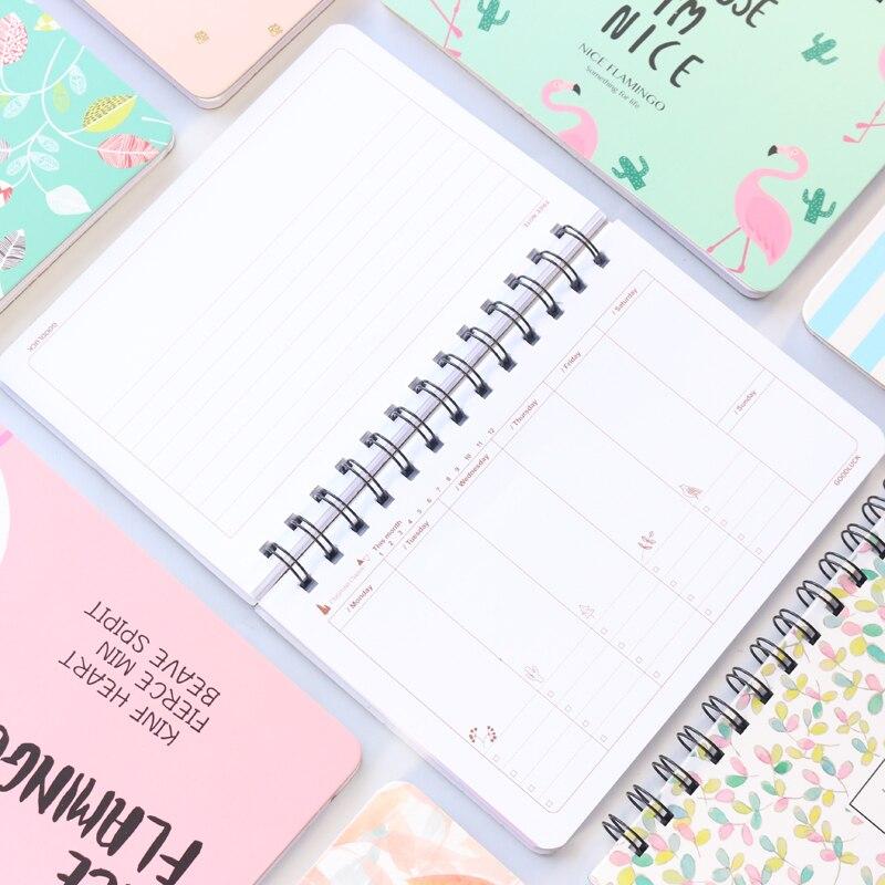2019 lindo espiral de la Escuela de tapa dura planificador semanal portátil stateionery caramelo estudiante planificador mensual del organizador del programa para chica B6