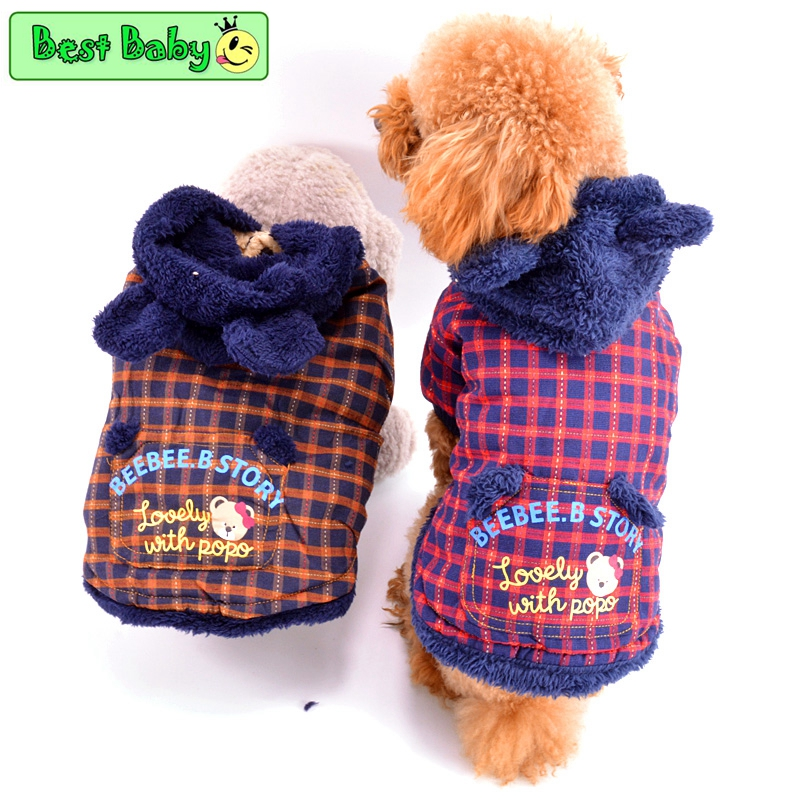 BeeBee Clothes For Dogs Yorkshire Grid Flannel Winter Pet Small Animals Jacket Apparel F ...