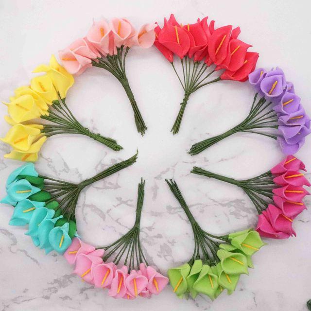 144 шт., искусственные мини цветы из вспененного материала, букет лилий, искусственные цветы для украшения свадьбы, подарок на день Святого Валентина. Q