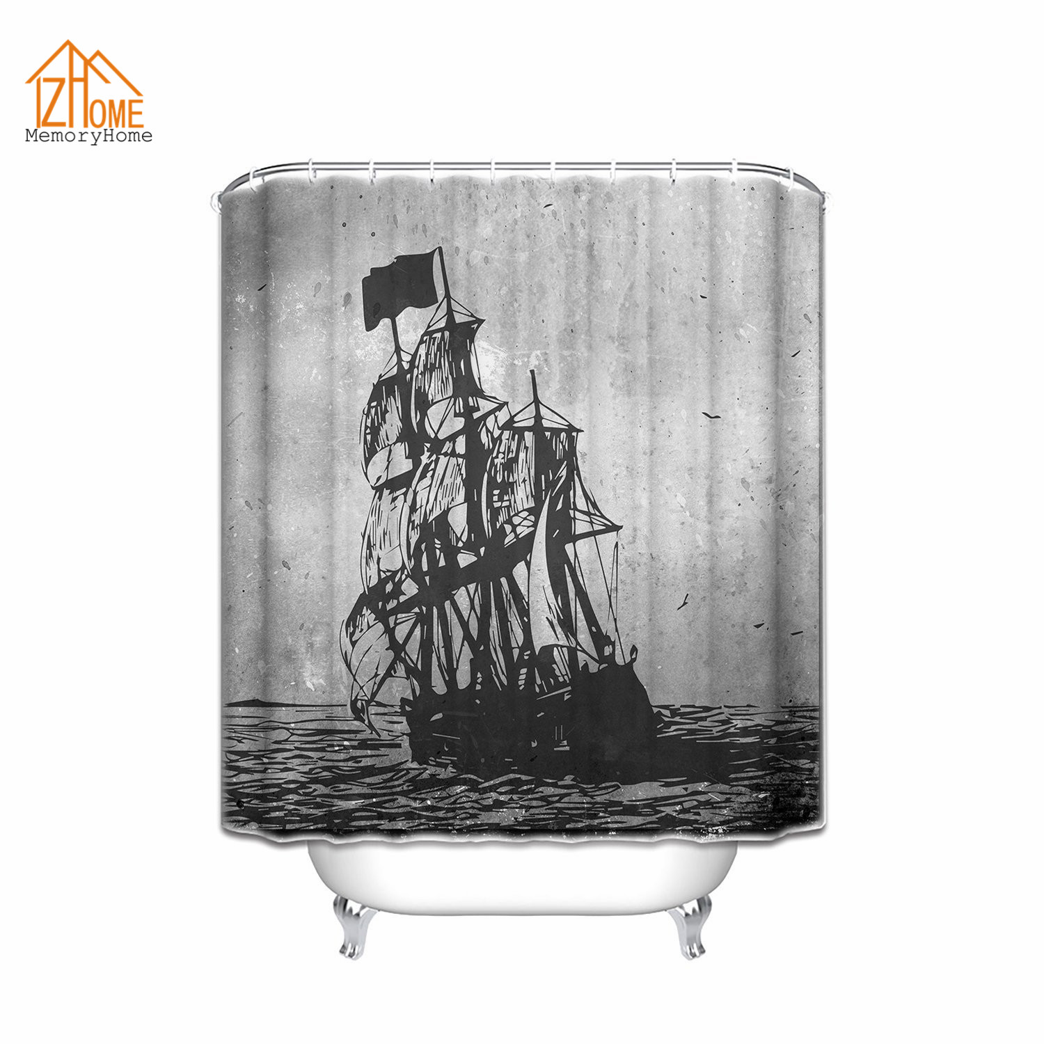 Jolly roger shower curtain - Memory Home Vintage Sailboat Shower Curtain Old Pirate Ship In The Sea Historic Legend Cruise Retro Style Bathroom Curtains