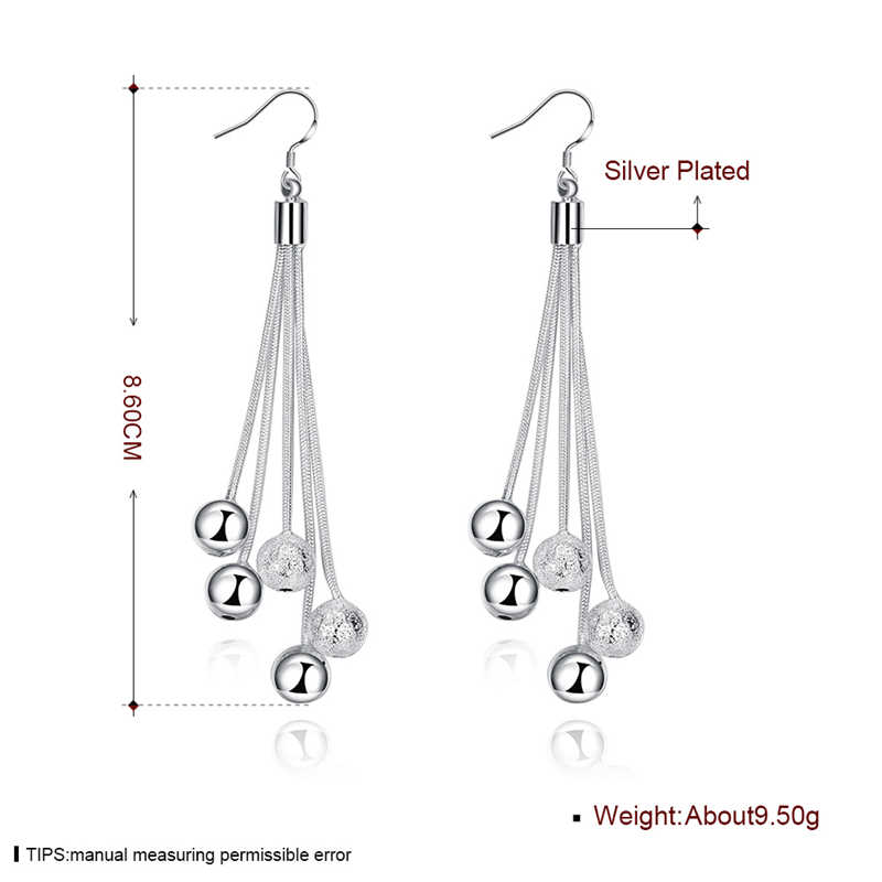 High Quality Jewelry 925 Silver Color Three Line Beads Earrings For Women Best Gift