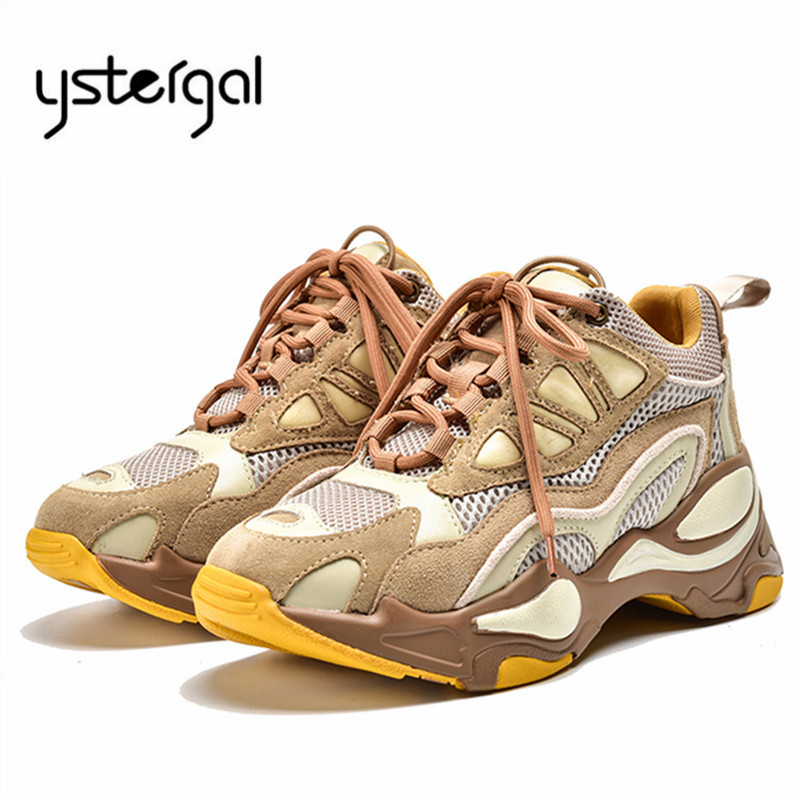 Ystergal Mixed Color Women Sneakers Breathable Casual Flat Shoes Woman Platform Creepers Espadrilles Trainers Ladies Shoes