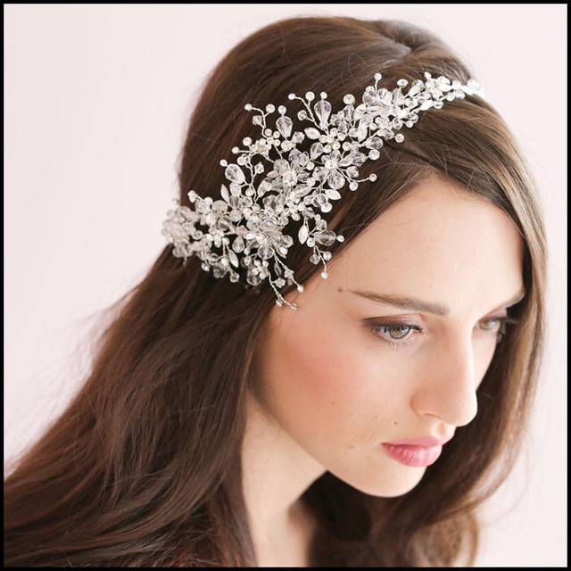 luxury rhinestone bridal hair accessories for wedding indian hair jewelry twig flower hair wear bride forehead