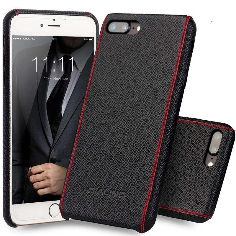 Funda QIALINO para iphone 8 plus Funda de cuero genuino de becerro de lujo para iphone 7 plus Moda ultra delgada para 4.7 / 5.5 pulgadas
