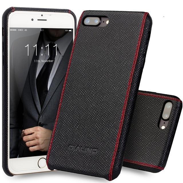 9c855179876 Qialino funda para iPhone 8 lujo becerro Cuero auténtico para iPhone 7 Plus  moda ultra delgada