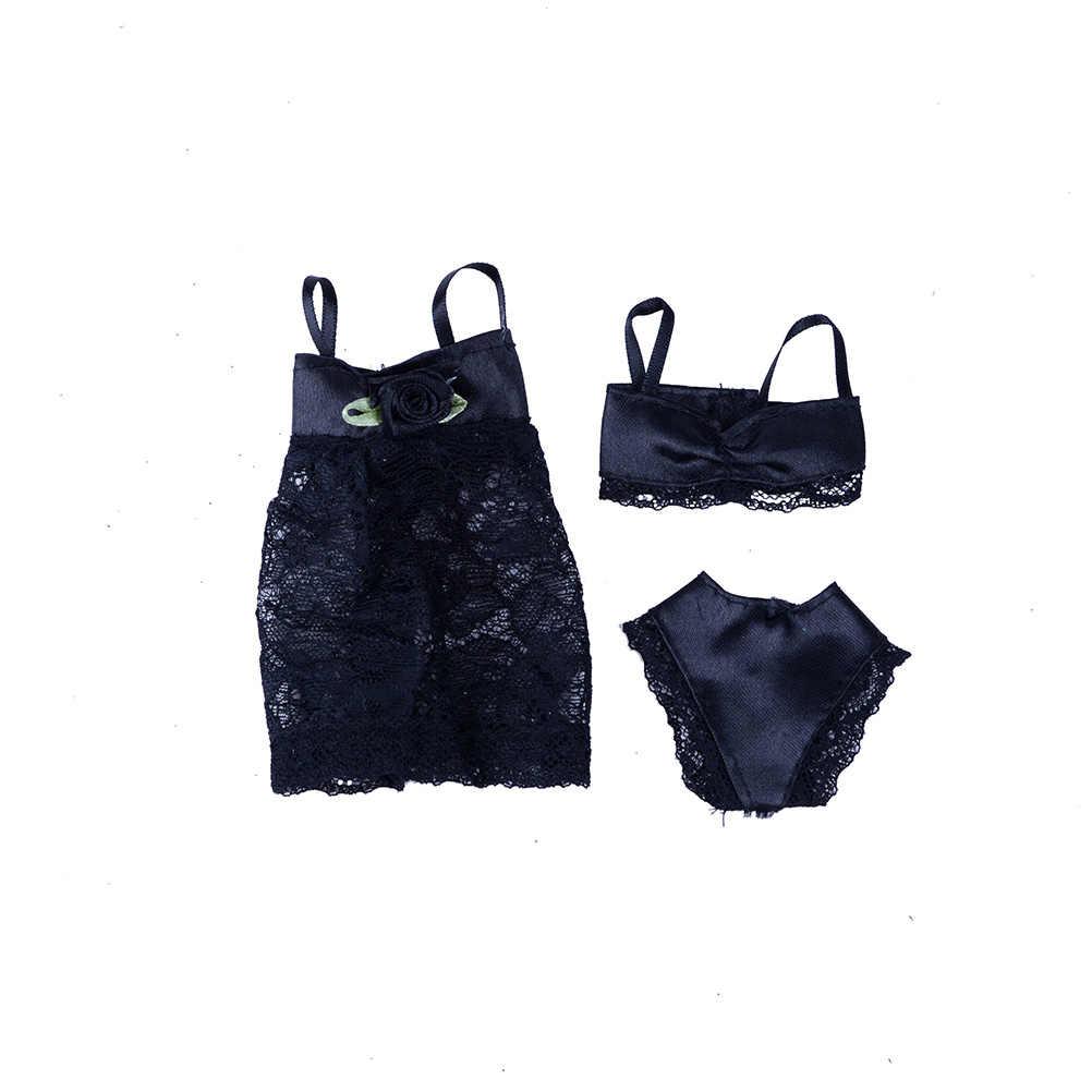 3pcs (o Vestido + Bra + Roupa Interior) Swimwear Sexy Lace Vestido de Noite Para A Boneca Pijamas Lingerie Roupa