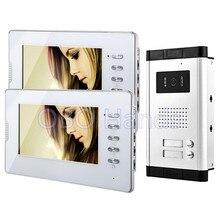 """7 """"color con cable video de la puerta teléfono set kit 2 monitores + 1 intercom timbre de la cámara al aire libre con dos botones de control para dos las familias"""