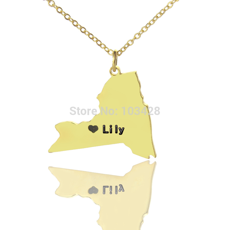 ̀ •́ Personalized NY State Shaped Necklaces Gold Color USA Map