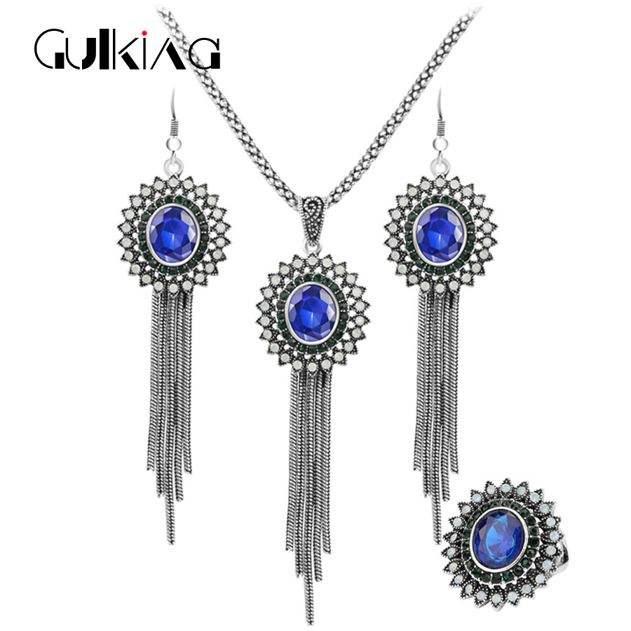 Gulkina New Sun Flower Crystal Jewelry Set Female Rings Necklace &Earrings 3Pcs/Sets For Women Banquet Jewelery Accessories