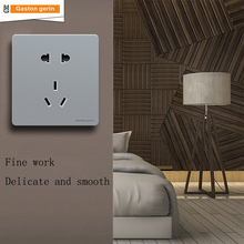 Luxury Home Wall Socket Switch Outlet Panel 5 Holes Switches 10A 110V 220V Electric Power 86*86 Sliver New