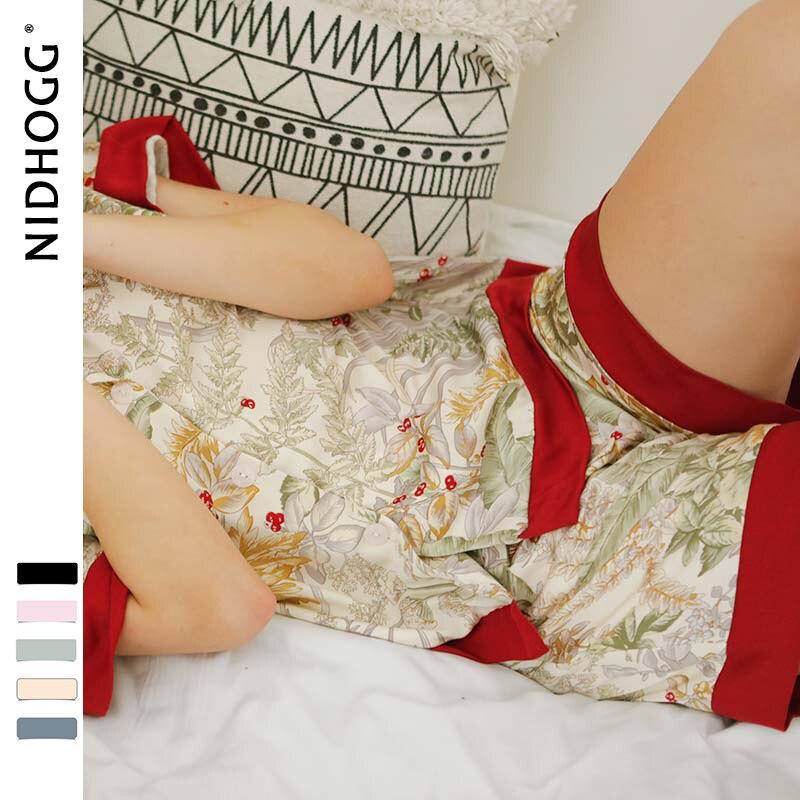 Image 5 - Летняя женская пижама с принтом свежей травы, шорты с коротким рукавом, пижамный комплект из 2 предметов, одежда для дома, атласная пижама с отложным воротником-in Комплекты пижам from Нижнее белье и пижамы on AliExpress - 11.11_Double 11_Singles' Day