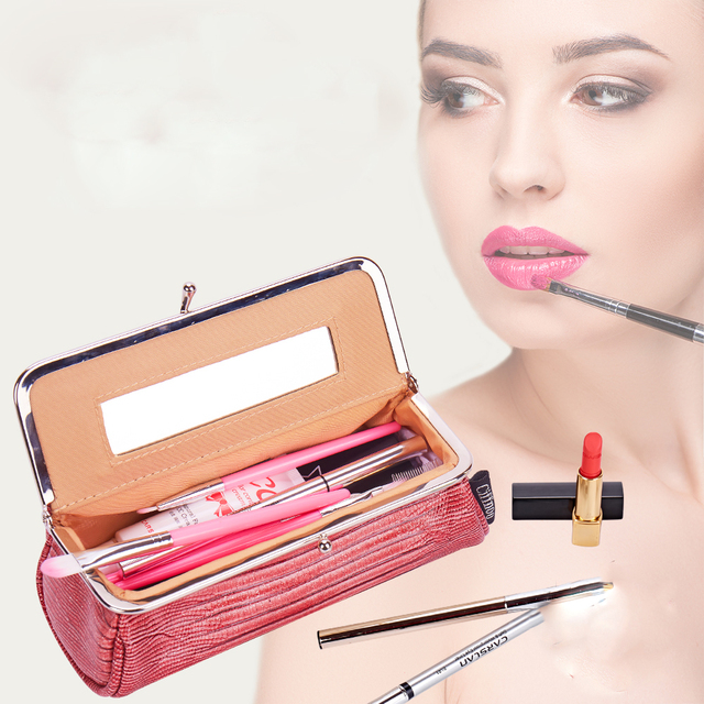Women Fashion Party Makeup Bag With Mirror Small Cosmetic Organizer Travel Make Up Pen Lipstick Brush Toolbox Pouch Storage Case 5
