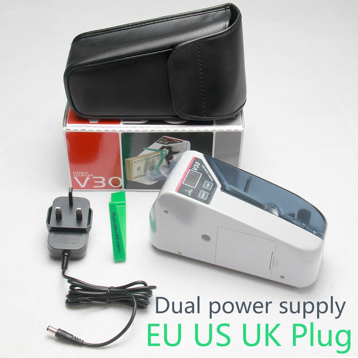 Mini portátil práctico dinero en efectivo todo contador de moneda máquina EU-V30 equipo financiero venta al por mayor enchufe UE EE. UU. Reino Unido