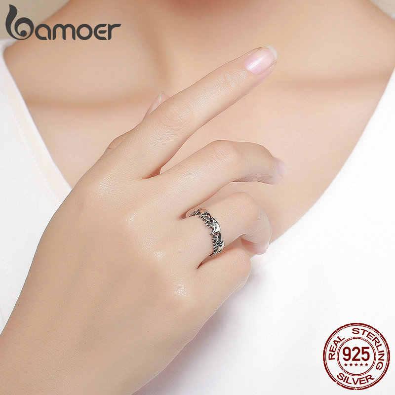 BAMOER อินเทรนด์ 100% เงิน 925 สัตว์ครอบครัวช้างแหวนเงินผู้หญิงเครื่องประดับ SCR344