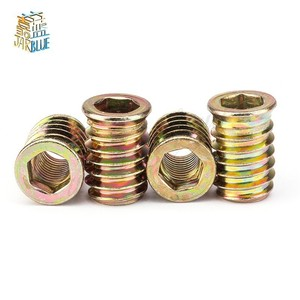 Free shipping 10pcs/20pcs M6 M8 M10 Zinc Alloy Iron Inside Carbon Steel Hex Socket Drive Insert Nuts Threaded For Wood Furniture
