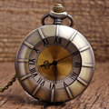Hot Seller Wholesale Bronze Brown Glass Dial Rome Number Women Quartz Pocket Watch Necklace Pendant P262