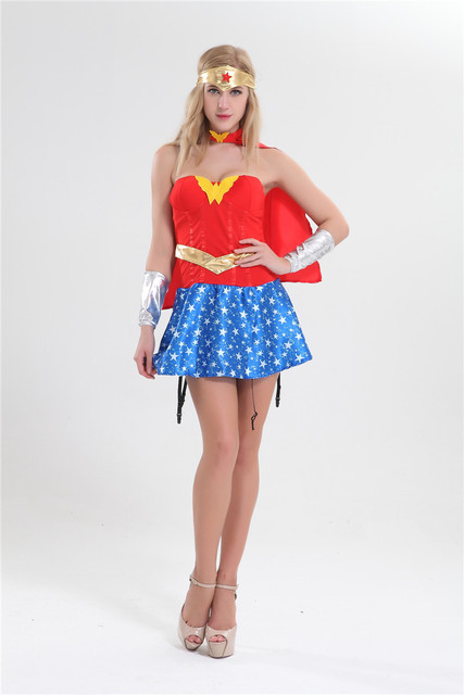 Free Shipping Ladies Fancy Dress Up Costume Wonder Woman Super Woman