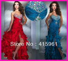 Popular Red Crystals Beads Tiered Ruffles Side Slit Evening Prom Dresses Gowns E3732