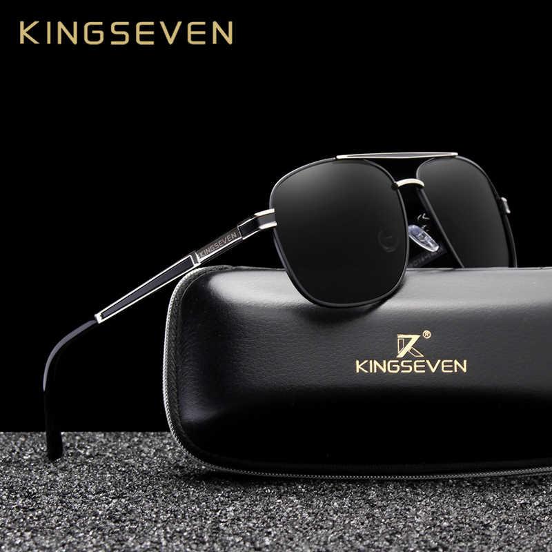 Kingseven marca design quadrado óculos de sol polarizados de aço inoxidável designer óculos de sol revestimento espelho oculos