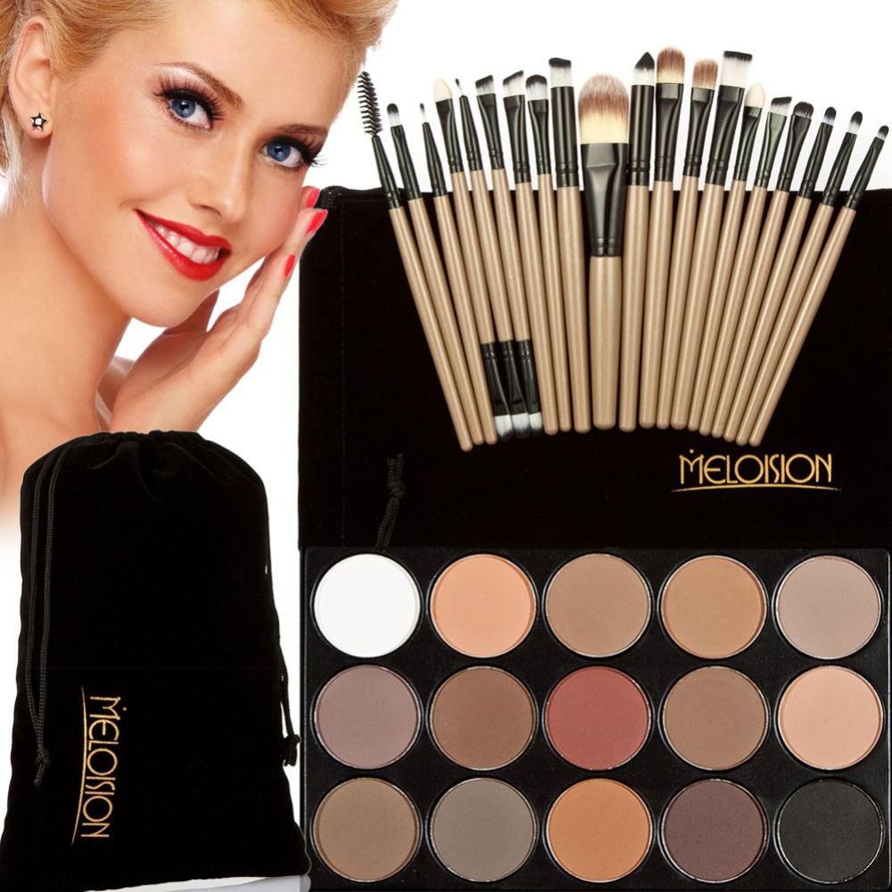 15 in 1 Make Up Eyeshadow Palette Set 20 pcs Makeup Brushes Kit Eye Shadow Shimmer Matte Earth Color Concealer Facial Cosmetic