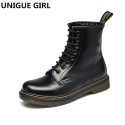 97898d78dcb 2019 New Top quality split Leather Women Boots Dr Martin boots shoes High  Top Motorcycle Autumn
