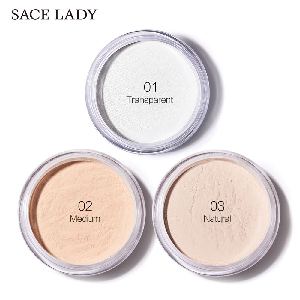 White Tone face loose power Oil control Professional Brighten Face Setting Powder polvos maquillaje SACE LADY Matte Loose Powder