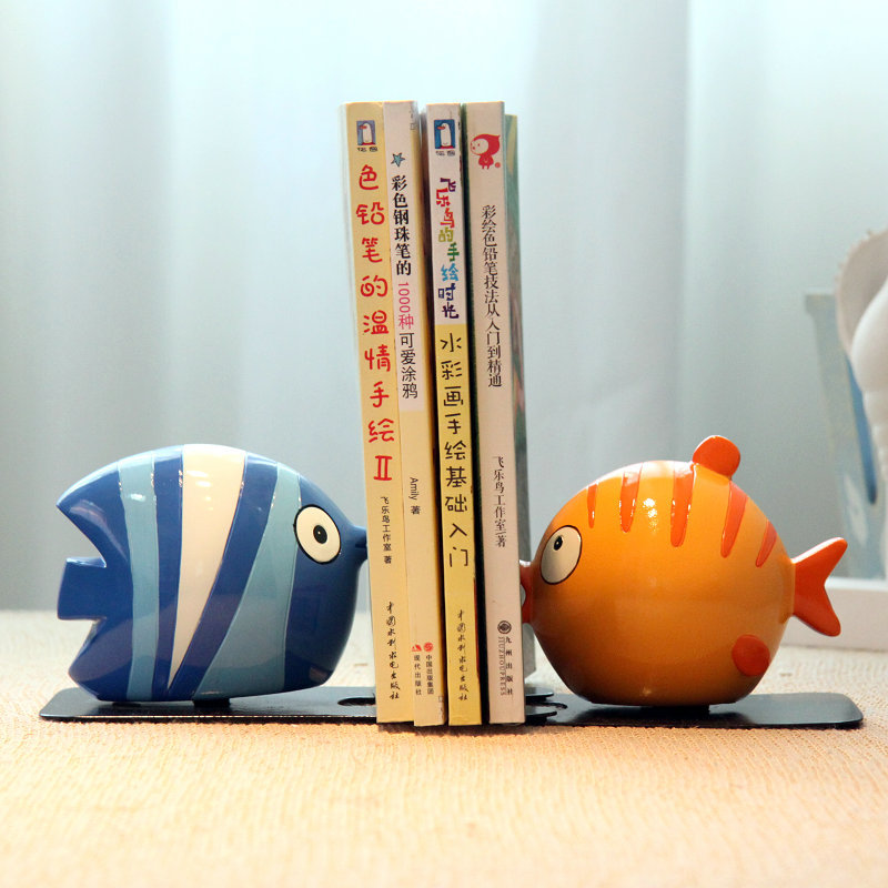 Playful fish Resin book end book push bookends Creative desk bookcase Cute  birthday gift-in Bookends from Office u0026 School