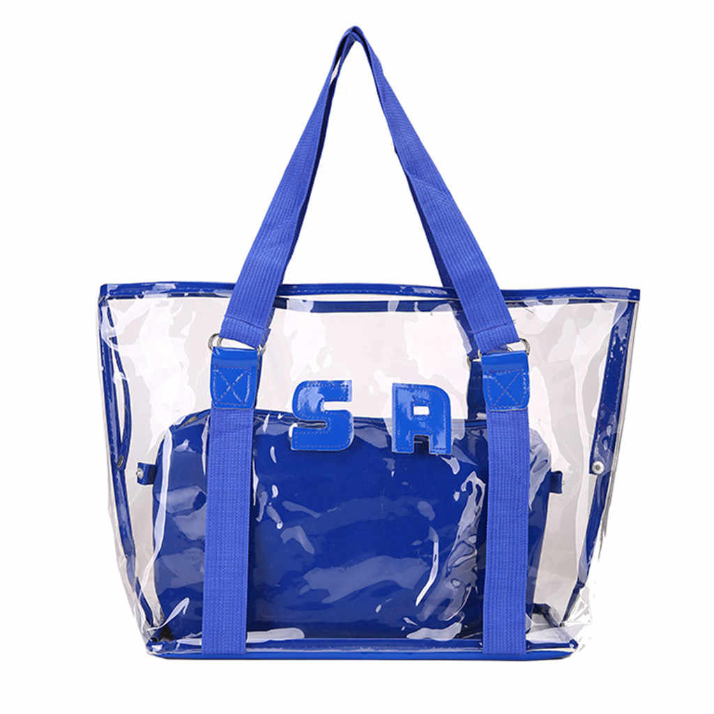 Fashion sac transparent Lady Large Capacity Transparent Beach Jelly Handbag Shoulder Bag sac transparent femme #Zer