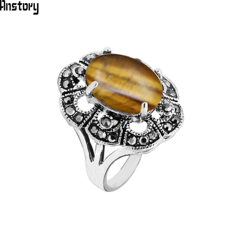 Oval Natural Tiger Eye Rings For Women Vintage Look Antique Silver Plated Rhinestone Plum Flower Fashion Jewelry TR692