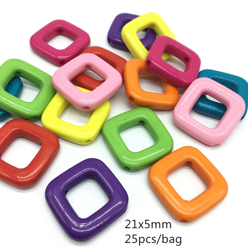 Meideheng Acrylic square shape Hollow out colored squares straight hole fashionable beads for Jewelry making 5*12mm 25pcs/bag