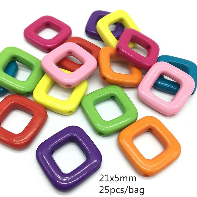 Meideheng 아크릴 사각 모양 사각 보석 상자 만드는 5 * 12mm 25pcs / bag를위한 똑 바른 구멍에 의하여 착색 된 사각 유행 구슬