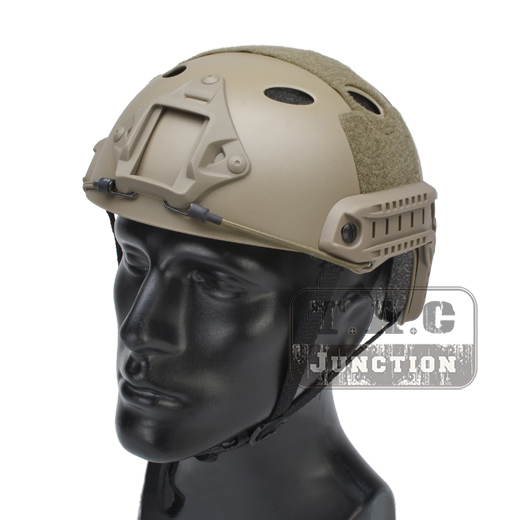 Emerson Tactical Fast Helmet Bump PJ Type Combat Lightweight Modular OPS Airsoft Helmet Dark Earth w/ NVG Shroud + Side Rail emerson airsoft tactical fast protective helmet pararescue jump pj type kryptek mandrake em5668i
