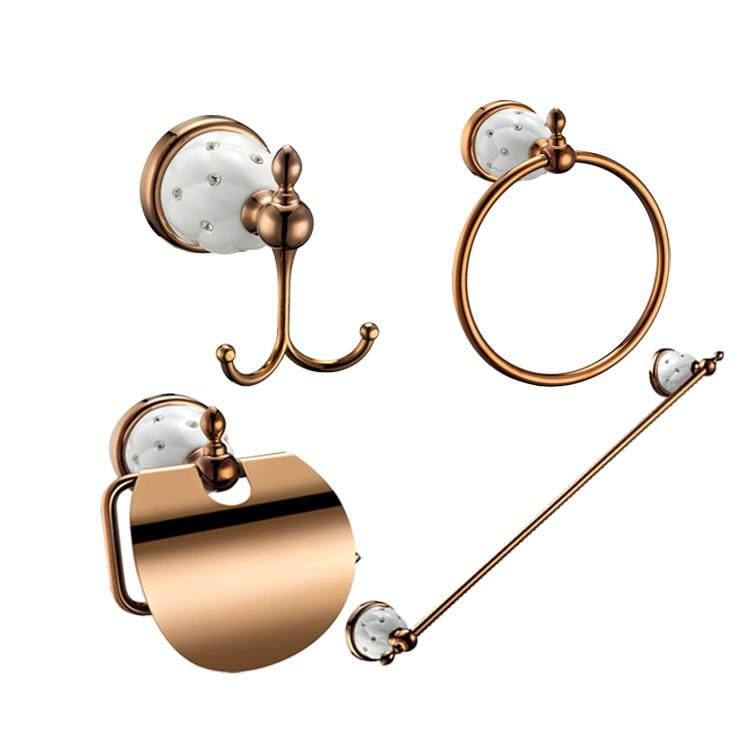MOIIO 4 Pcs Luxury  Bathroom Accessories Set Robe Hooks Paper Holder Towel Bar Towel Ring Hardware Sets Bathroom Accessories