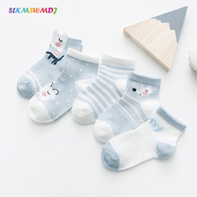 SLKMSWMDJ spring summer new mesh thin baby socks cotton tube cartoon children socks boys and girls baby breathable socks 5 pairs pink cat 5 pairs baby socks spring and autumn cartoon children s socks unisex all combed cotton newborn socks 10 color
