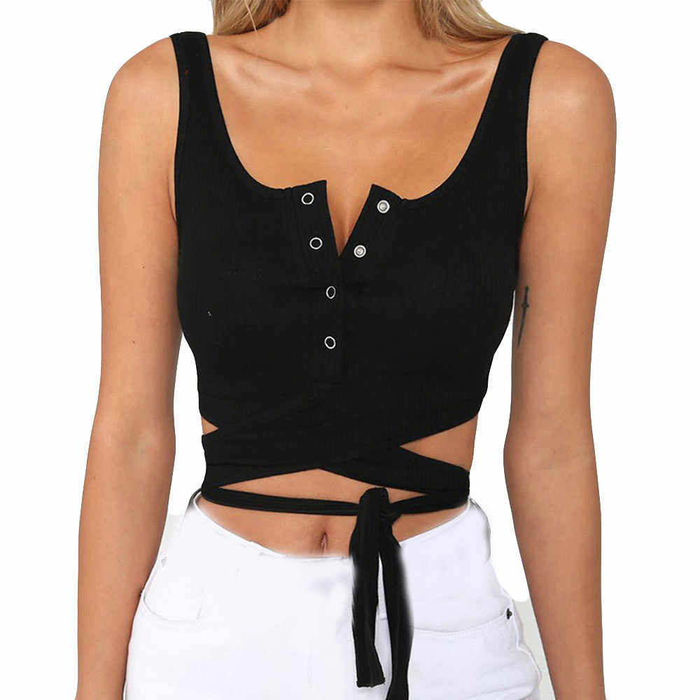 Summer women's fashion shirt T-shirt sleeveless button short vest 2019 new solid color cotton camisole #YL5