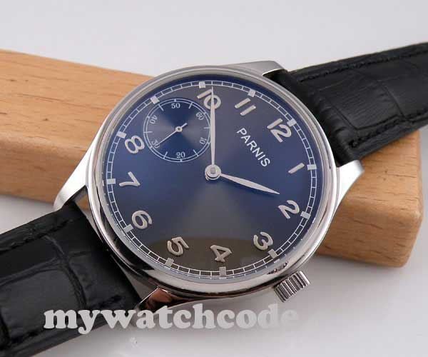 44mm parnis gray dial silver marks 6497 movement hand winding mens watch P236 цена и фото