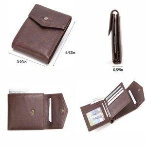 Image 3 - CONTACTS skóra Crazy Horse portfel męski z kieszonką na monety Hasp portfel poziomy Vintage portfel męski