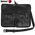 Hotrose 28 Pockets Makeup Brush Apron Bags Artist Belt Strap Holder Women Cosmetic Leather Bag Organizer Black Zipper Case