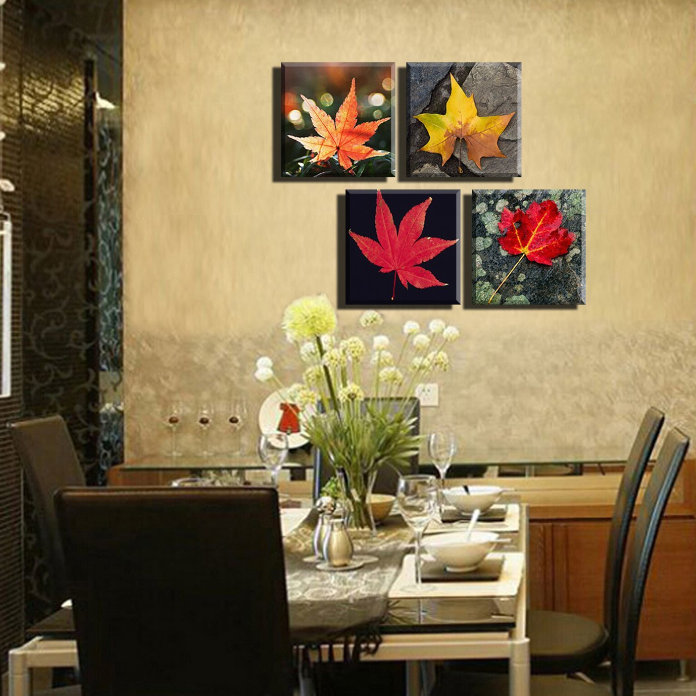 BANMU Canvas Prints4 Piece Colourful Leaf Trees Canvas Painting Wall ...