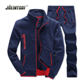 Autumn/Winter 2017 Casual Hoodies Men Tracksuit Set Brand Clothing Sweat Suits Men Zipper Cardigan Sweatshirt+Sweatpants Sets