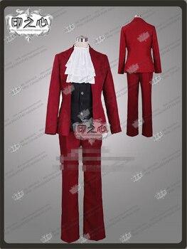 Custom Made Anime Phoenix Wright Gyakuten Saiban 4 Miles Edgeworth Fashion Uniform Cosply Costume Shirt+Pants+Wasit coat+Coat C