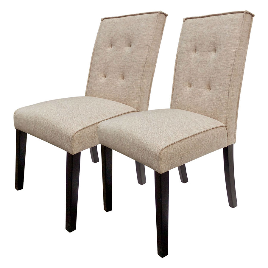 HLC Tufted Fabric Dining Chairs with Solid Wood Legs (Set of 2)