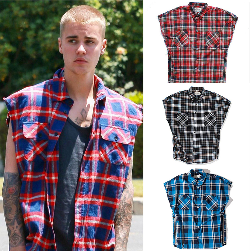 Streetwear Oversized Plaid Sleeveless Shirts Mens Waist Zipper Checkered Justin Bieber Tide Multi color Loose Tartan Shirts